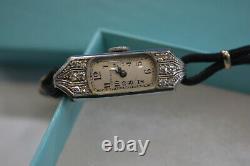 Tiffany Vintage Ladies Platinum Diamond Watch Mint! Art Deco Era