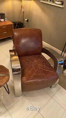 Timothy Oulton / Halo Living Aviator Cuir Rocket Fauteuil / Fauteuil Club