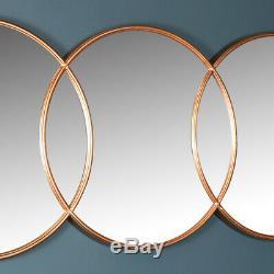 Très Grand Miroir Mural Cercle En Cuivre Décoratif Orné Rustique Chic Et Industriel