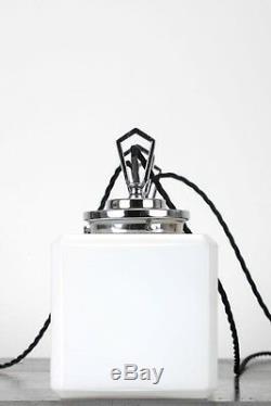 Trio Art Déco Cube Opaline Éclairage Pendentifs Plafond