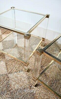 Une Paire De Français Pierre Vandel Paris Lucite Glass Coffee Bed Side Lamp Tables