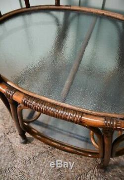 Une Paire De Verre Rotin Vintage Bambou Canne À Café Lit Tables De La Lampe À Chariot