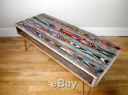 Upcycled Récupéré Table Basse Palette En Bois Avec Des Pieds En Épingle À Cheveux Industrielles