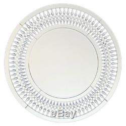 Vénitien Rond Diamant Crush Mur Miroir En Verre Salon Chambre Décor Argent