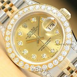 Véritable Rolex Datejust 2 Tons Quickset Watch & 1,13 Ct Diamond Bezel