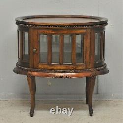 Verre Ovale D'armoire De Boissons Avec La Livraison Victorienne De Repro D'acajou De Plateau Disponible