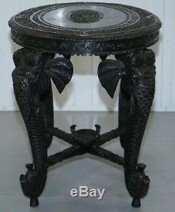 Vers 1900 Anglo Elephant Indien Et Bouddha Sculpté À La Main En Bois De Rose Table Basse Côté