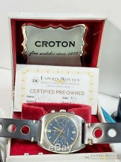Viabilisé Vintage Croton 1878 Chronographe Valjoux 7733 Panda Dial Heuer Box Montre