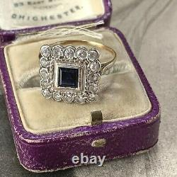 Vintage 9ct Or Bleu & Blanc Spinel Princesse Cluster Anneau, Art Déco Style Uk O
