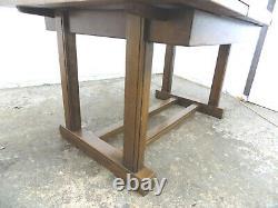 Vintage, Années 1930, Grand, 7'l, Chêne, Feuille De Dessin, Extening, Table À Manger, Base De Piédestal, Table