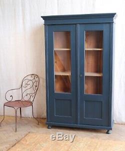 Vintage Antique Blue Painted Larder Linge De Presse Cabinet De Verre Armoire Armoire