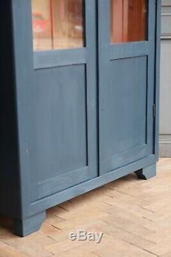 Vintage Antique Indigo Verre Peint Déco Meuble De Rangement Cabinet