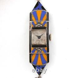 Vintage Art Déco Dames Sterling Argent & Bleu, Yellowithorange Enamel Montre