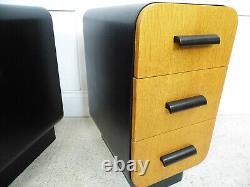 Vintage Art Déco Mobilier Tchèque Cc41 Armoires De Chevet Courbées Halabala 1940s