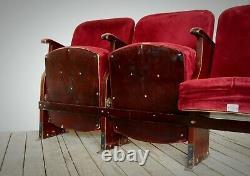 Vintage Art Deco Pliant Cinéma Théâtre Sièges Chaises Banc 1950 Sets De 2-3-4