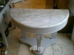 Vintage Demi Lune Marbre Top Wash Table Stand / Console Dans Shabby Chic Laura Ashle