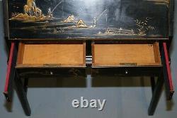 Vintage Ebonised Laqué & Giltwood Chinois Chinoiserie Écriture Bureau Bureau