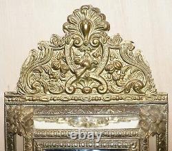 Vintage Repousse Brass Cushion Edge Mirror Français Monté Pour Touches Suspendues