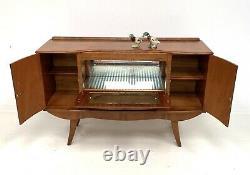 Vintage Retro Walnut Sideboard Cocktail Drinks Cabinet / Armoire Art Déco Des Années 1950
