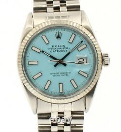 Vintage Rolex Oyster Perpetual Datejust 36mm Aqua Cadran Luminescent Montre En Acier