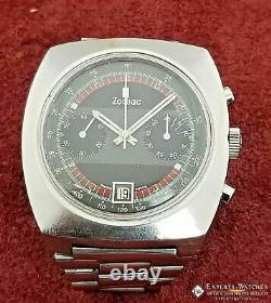 Vintage Serviced Zodiac Chronographe Coussin Montre Valjoux 7734 Poor Man Bracelet