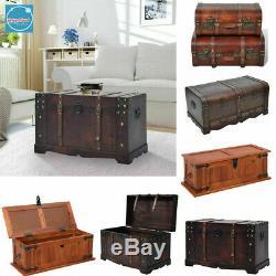 Vintage Stockage Coffre-fort Cabinet Table Basse Side / Fin Bureau Treasure Chest Bois
