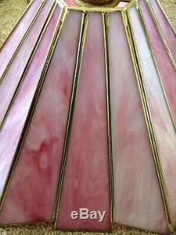 Vintage Style Tiffany Plafond Pendentif Luminaire Rose Vitrail Art Déco