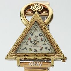 Vintage Waltham Rare Vintage Gold Filled Masonic Triangle Wrist Watch Serviced