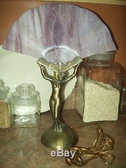 Vtg MID Siècle L & L Wmc Nude Ailes Lady Figure Art Deco Style Lampe De Table Htf