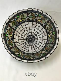 Vtg Stained Slag Glass Lamp Shade Arts & Crafts Mission Déco Tiffany Style 15