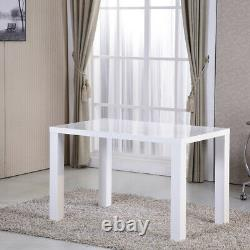 White Gloss Dining Table Kitchen Dining Room Meubles Rectangulaire Table Royaume-uni