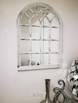 White Rustic Soho Fenêtre Style Miroir Vintage Hallway Miroir Mural 50.5x71x2.5